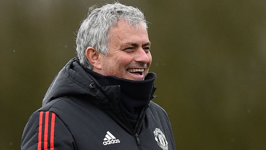 Manchester United's Portuguese manager Jose Mourinho attends a team training session at the club's training complex near Carrington, west of Manchester in north west England on March 12, 2018, on the eve of their UEFA Champions League round of 16 second-leg football match against Sevilla. / AFP PHOTO / Oli SCARFF        (Photo credit should read OLI SCARFF/AFP/Getty Images)
