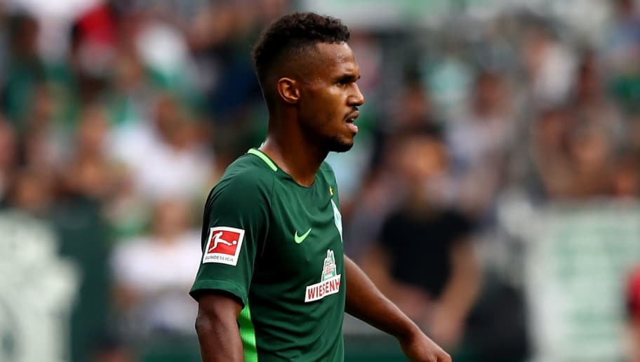 BREMEN, GERMANY - AUGUST 26:  Theodor Gebre Selassie of Bremen looks on during the Bundesliga match between SV Werder Bremen and FC Bayern Muenchen at Weserstadion on August 26, 2017 in Bremen, Germany.  (Photo by Martin Rose/Bongarts/Getty Images)