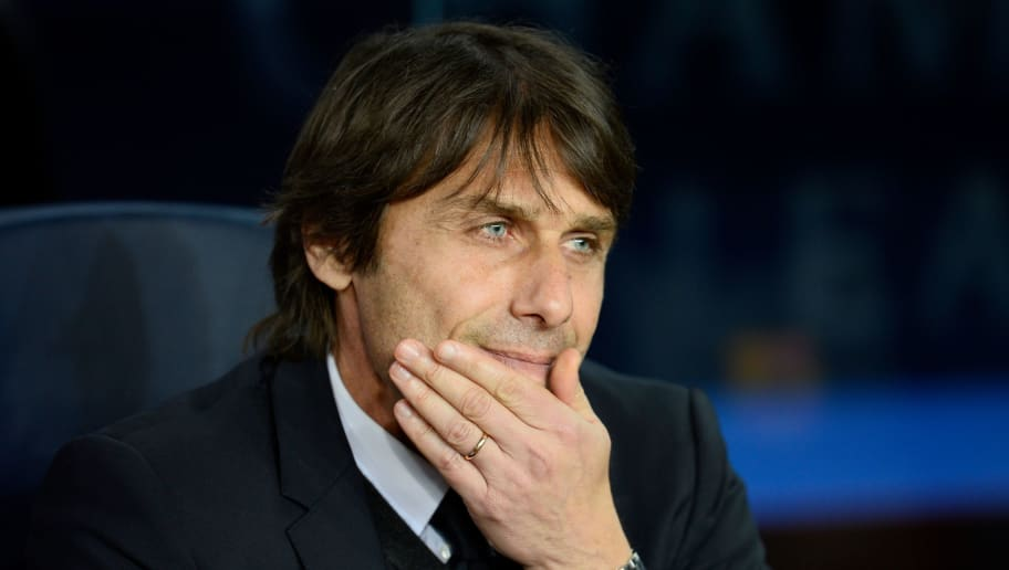 Chelsea's Italian coach Antonio Conte attends the UEFA Champions League round of sixteen second leg football match between FC Barcelona and Chelsea FC at the Camp Nou stadium in Barcelona on March 14, 2018. / AFP PHOTO / Josep LAGO        (Photo credit should read JOSEP LAGO/AFP/Getty Images)
