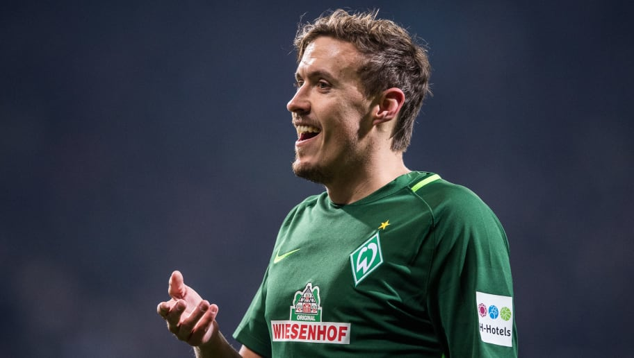 BREMEN, GERMANY - FEBRUARY 24: Max Kruse of Bremen gestures during the Bundesliga match between SV Werder Bremen and Hamburger SV at Weserstadion on February 24, 2018 in Bremen, Germany. (Photo by Lukas Schulze/Bongarts/Getty Images)