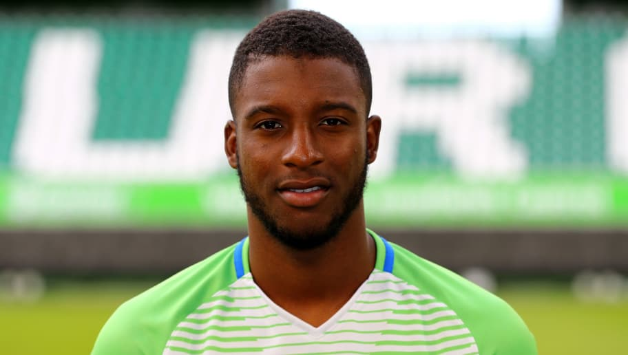 WOLFSBURG, GERMANY - SEPTEMBER 13:  Riechedly Bazoer of VfL Wolfsburg poses during the team presentation at  on September 13, 2017 in Wolfsburg, Germany.  (Photo by Martin Rose/Bongarts/Getty Images)