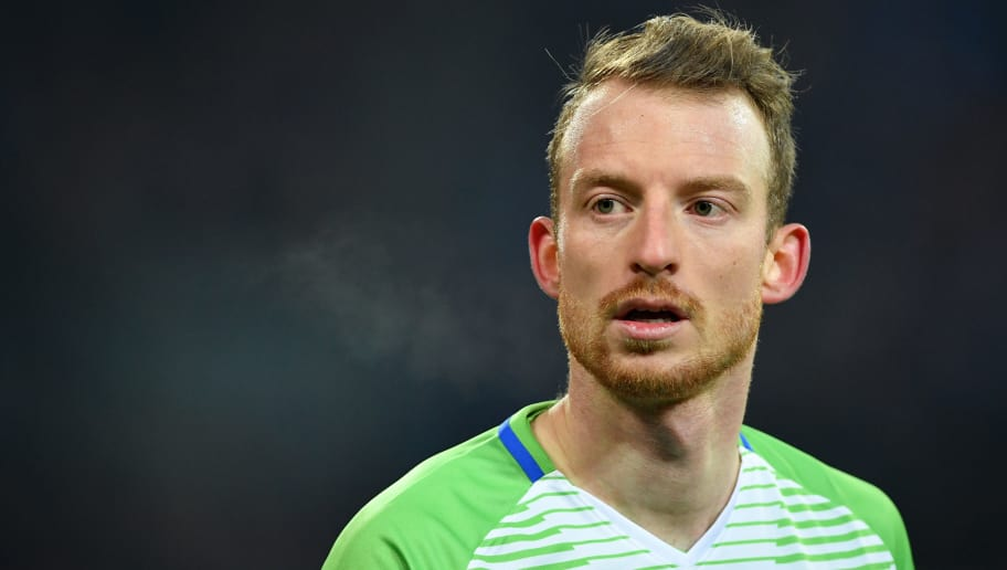 GELSENKIRCHEN, GERMANY - FEBRUARY 07:  Maximilian Arnold of Wolfsburg looks on during the DFB Pokal quarter final match between FC Schalke 04 and VfL Wolfsburg at Veltins-Arena on February 7, 2018 in Gelsenkirchen, Germany.  (Photo by Stuart Franklin/Bongarts/Getty Images)