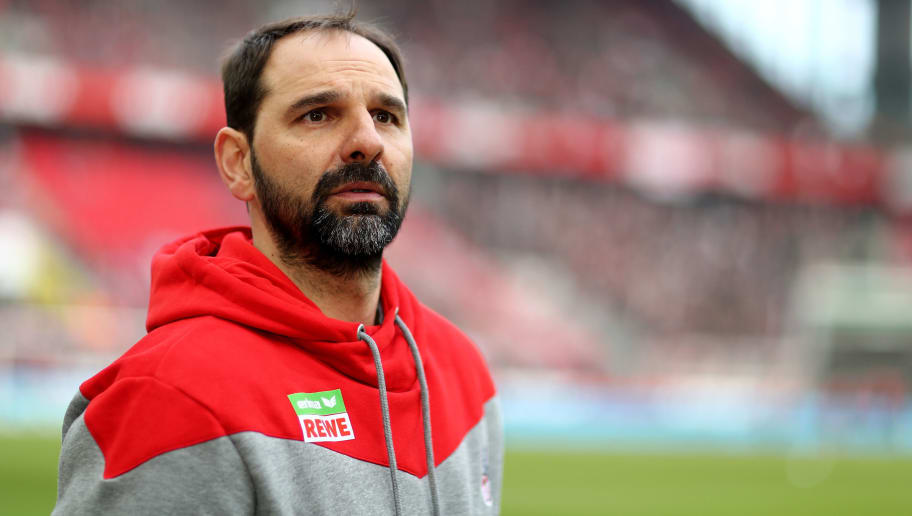 COLOGNE, GERMANY - MARCH 04: Head coach Stefan Ruthenbeck of Koeln is seen prior to the Bundesliga match between 1. FC Koeln and VfB Stuttgart at RheinEnergieStadion on March 4, 2018 in Cologne, Germany. The match between Koeln and Stuttgart ended 2-3. (Photo by Christof Koepsel/Bongarts/Getty Images)