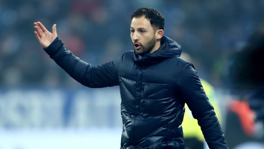 GELSENKIRCHEN, GERMANY - MARCH 03: Head coach Domenico Tedesco of Schalke issues instructions during the Bundesliga match between FC Schalke 04 and Hertha BSC at Veltins-Arena on March 3, 2018 in Gelsenkirchen, Germany. (Photo by Christof Koepsel/Bongarts/Getty Images)