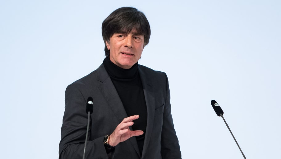 FRANKFURT AM MAIN, GERMANY - DECEMBER 08: German National Team Head Coach Joachim Loew speaks to the audience during the Extraordinary DFB Bundestag at Messe Frankfurt on December 8, 2017 in Frankfurt am Main, Germany. (Photo by Simon Hofmann/Bongarts/Getty Images)