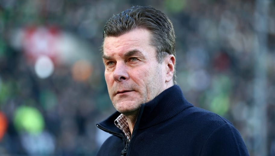 MOENCHENGLADBACH, GERMANY - FEBRUARY 18: Head coach Dieter Hecking mö00      looks on prior to the Bundesliga match between Borussia Moenchengladbach and Borussia Dortmund at Borussia-Park on February 18, 2018 in Moenchengladbach, Germany. (Photo by Christof Koepsel/Bongarts/Getty Images)