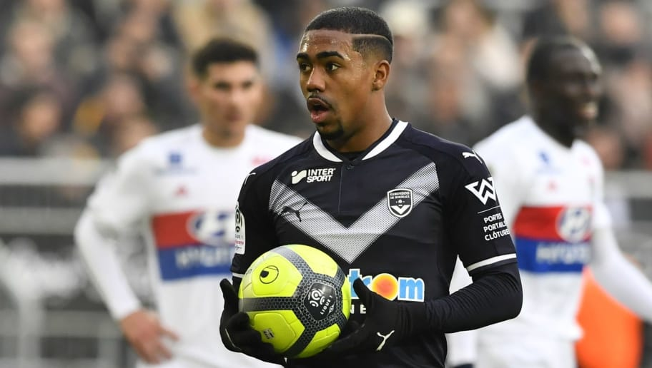 Bordeaux's Brazilian forward Malcom prepares to shoot a penalty kick  during  the French L1 football match between Bordeaux (FCGB) and Lyon (OL) on January 28, 2018, at the Matmut Atlantique stadium in Bordeaux, southwestern France. / AFP PHOTO / NICOLAS TUCAT        (Photo credit should read NICOLAS TUCAT/AFP/Getty Images)