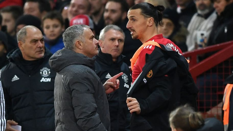 MANCHESTER, ENGLAND - NOVEMBER 18:  Jose Mourinho, Manager of Manchester United instructs Zlatan Ibrahimovic of Manchester United before being substituted during the Premier League match between Manchester United and Newcastle United at Old Trafford on November 18, 2017 in Manchester, England.  (Photo by Gareth Copley/Getty Images)