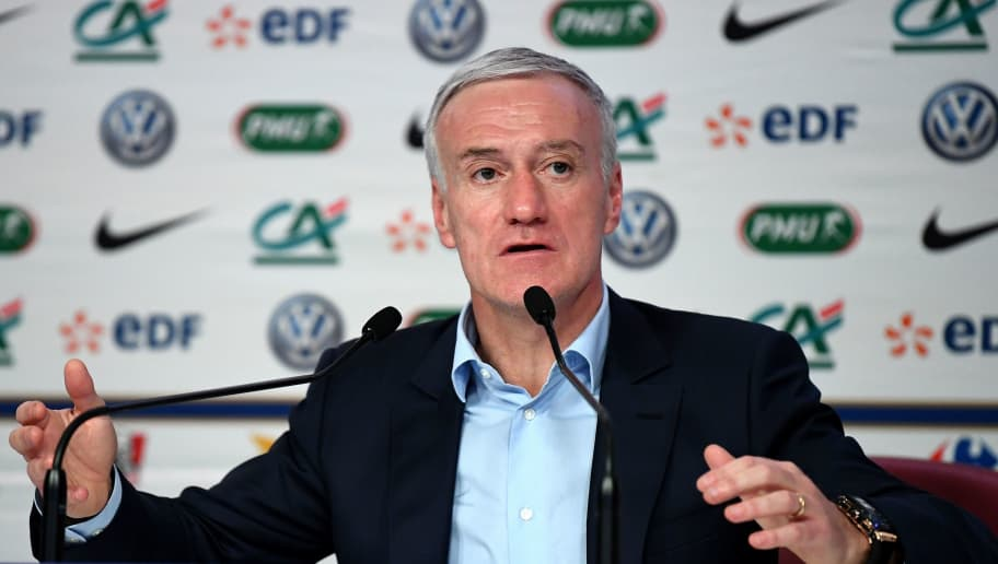 French national football team coach Didier Deschamps gestures as he addresses a press conference in Paris on March 15, 2018, to announce his squad ahead of forthcoming friendly football matches against Colombia and Russia.  / AFP PHOTO / FRANCK FIFE        (Photo credit should read FRANCK FIFE/AFP/Getty Images)