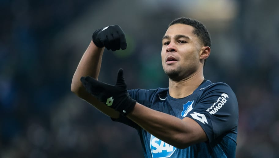 SINSHEIM, GERMANY - DECEMBER 02: Serge Gnabry of Hoffenheim celebrates his team's second goal during the Bundesliga match between TSG 1899 Hoffenheim and RB Leipzig at Wirsol Rhein-Neckar-Arena on December 2, 2017 in Sinsheim, Germany. (Photo by Simon Hofmann/Bongarts/Getty Images)