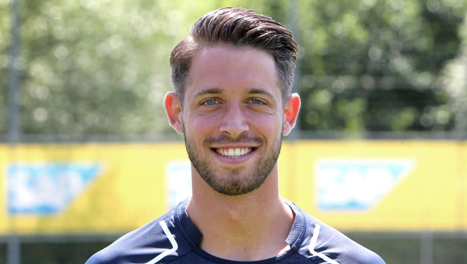 Mark Uth from German first division Bundesliga football team TSG 1899 Hoffenheim poses for a photo in Zuzenhausen near Heidelberg, Germany, on July 13, 2017. / AFP PHOTO / Daniel ROLAND        (Photo credit should read DANIEL ROLAND/AFP/Getty Images)