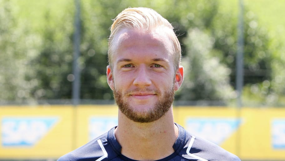 Kevin Vogt from German first division Bundesliga football team TSG 1899 Hoffenheim poses for a photo in Zuzenhausen near Heidelberg, Germany, on July 13, 2017. / AFP PHOTO / Daniel ROLAND        (Photo credit should read DANIEL ROLAND/AFP/Getty Images)