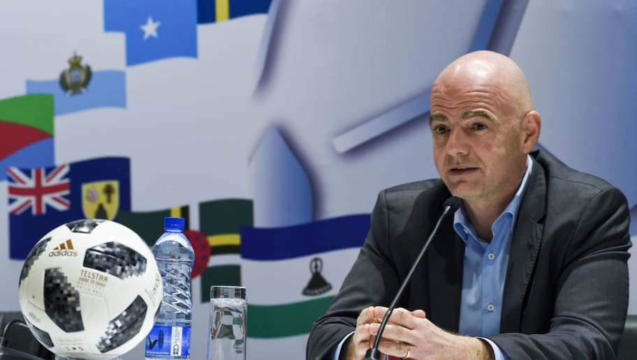 President of FIFA Gianni Infantino speaks during a press conference at the end of the FIFA executive football summit in Lagos, on February 20, 2018. / AFP PHOTO / PIUS UTOMI EKPEI        (Photo credit should read PIUS UTOMI EKPEI/AFP/Getty Images)