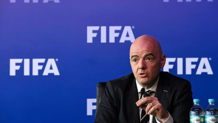 FIFA President Gianni Infantino attends a press conference on March 16, 2018 in Bogota, Colombia, after FIFA Council meeting. FIFA on Friday approved the video arbitration (VAR) for the World Cup of Russia-2018, a controversial system with which seeks the reduction of errors in football, informed Infantino. / AFP PHOTO / Luis ACOSTA        (Photo credit should read LUIS ACOSTA/AFP/Getty Images)