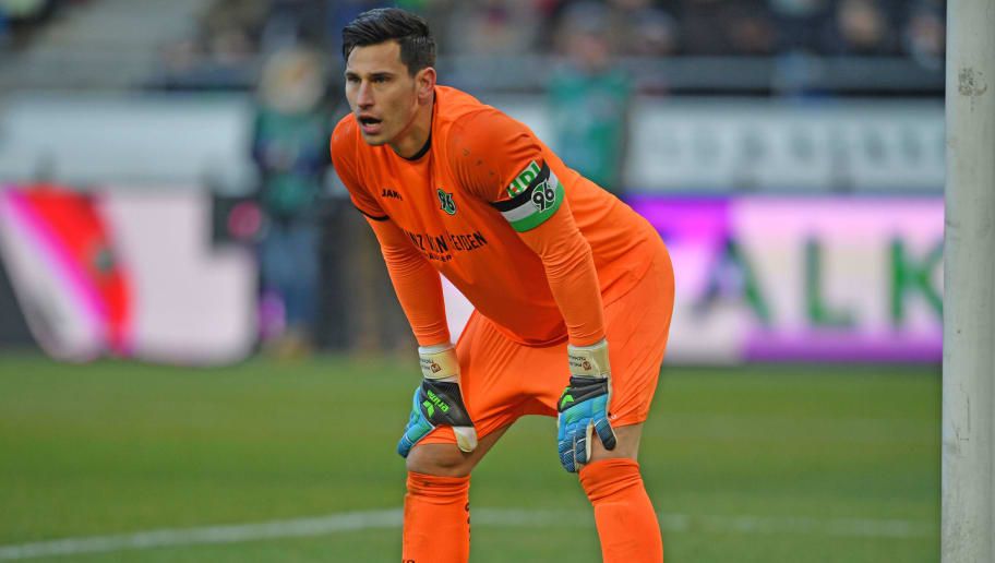 HANOVER, GERMANY - FEBRUARY 24: Goalkeeper Philipp Tschauner looks dejected during the Bundesliga match between Hannover 96 and Borussia Moenchengladbach at HDI-Arena on February 24, 2018 in Hanover, Germany. (Photo by Thomas Starke/Bongarts/Getty Images)