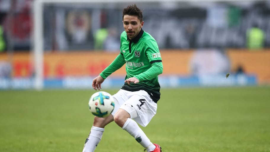 FRANKFURT AM MAIN, GERMANY - MARCH 03: Julian Korb #4 of Hannover 96 controls the ball during the Bundesliga match between Eintracht Frankfurt and Hannover 96 at Commerzbank-Arena on March 3, 2018 in Frankfurt am Main, Germany. (Photo by Maja Hitij/Bongarts/Getty Images)