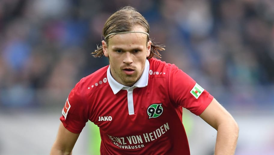HANOVER, GERMANY - MARCH 10:  Iver Fossum of Hannover in action during the Bundesliga match between Hannover 96 and FC Augsburg at HDI-Arena on March 10, 2018 in Hanover, Germany.  (Photo by Stuart Franklin/Bongarts/Getty Images)