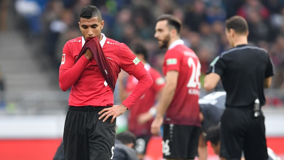 HANOVER, GERMANY - MARCH 10:  Jonathas of Hannover looks dejected during the Bundesliga match between Hannover 96 and FC Augsburg at HDI-Arena on March 10, 2018 in Hanover, Germany.  (Photo by Stuart Franklin/Bongarts/Getty Images)