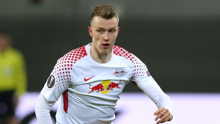 LEIPZIG, GERMANY - MARCH 08: Lukas Klostermann of RB Leipzig runs with the ball during the UEFA Europa League Round of 16 match between RB Leipzig and Zenit St Petersburg at the Red Bull Arena on March 8, 2018 in Leipzig, Germany. (Photo by Ronny Hartmann/Bongarts/Getty Images)