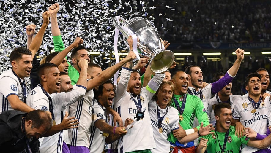 CARDIFF, WALES - JUNE 03:  Sergio Ramos of Real Madrid lifts The Champions League trophy after the UEFA Champions League Final between Juventus and Real Madrid at National Stadium of Wales on June 3, 2017 in Cardiff, Wales.  (Photo by David Ramos/Getty Images)