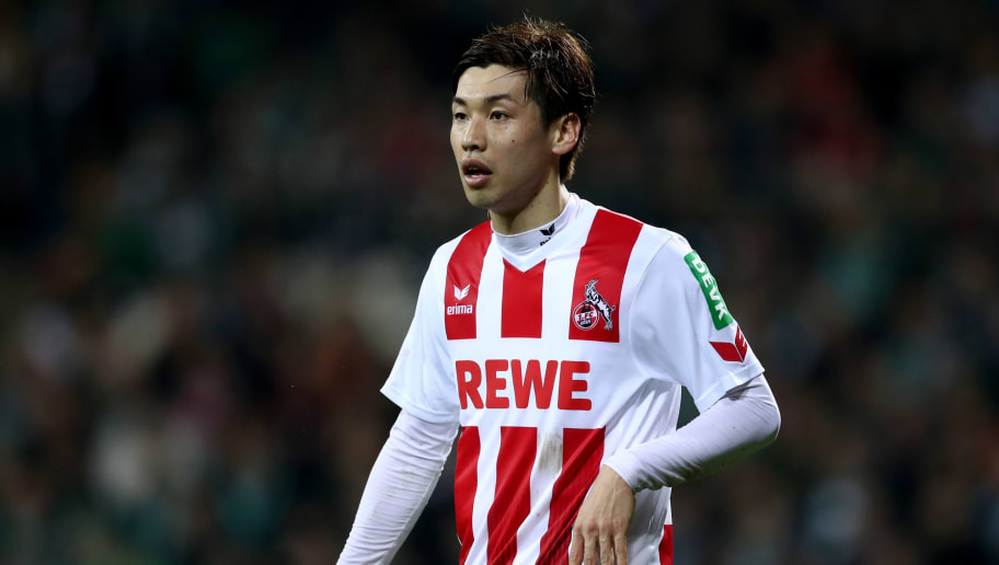 BREMEN, GERMANY - MARCH 12:  Yuya Osako of Koeln looks on during the Bundesliga match between SV Werder Bremen and 1. FC Koeln at Weserstadion on March 12, 2018 in Bremen, Germany.  (Photo by Lars Baron/Bongarts/Getty Images)
