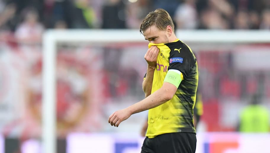 SALZBURG, AUSTRIA - MARCH 15: Marcel Schmelzer of Dortmund looks on after the UEFA Europa League Round of 16, 2nd leg match between FC Red Bull Salzburg and Borussia Dortmund at the Red Bull Arena on March 15, 2018 in Salzburg, Austria. (Photo by Sebastian Widmann/Bongarts/Getty Images,)