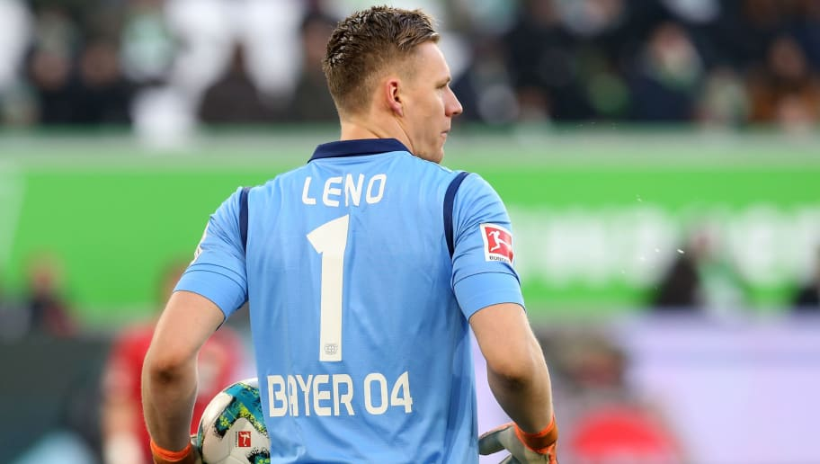 WOLFSBURG, GERMANY - MARCH 03:  Goalkeeper Bernd Leno of Leverkusen looks on during the Bundesliga match between VfL Wolfsburg and Bayer 04 Leverkusen at Volkswagen Arena on March 3, 2018 in Wolfsburg, Germany.  (Photo by Matthias Kern/Bongarts/Getty Images)