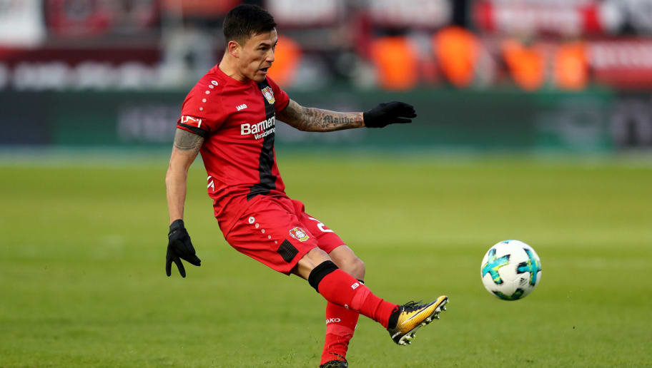 LEVERKUSEN, GERMANY - FEBRUARY 25: Charles Aranguiz of Leverkusen runs with the ball during the Bundesliga match between Bayer 04 Leverkusen and FC Schalke 04 at BayArena on February 25, 2018 in Leverkusen, Germany. (Photo by Christof Koepsel/Bongarts/Getty Images)