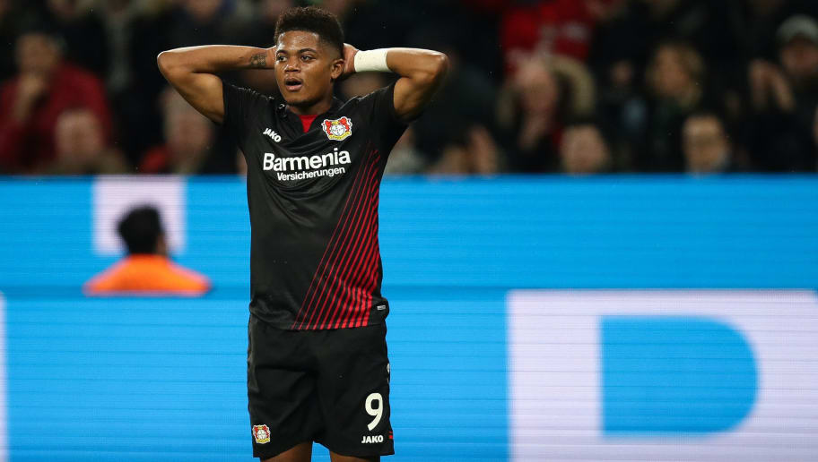 LEVERKUSEN, GERMANY - MARCH 10: Leon Bailey #9 of Bayer Leverkusen reacts during the Bundesliga match between Bayer 04 Leverkusen and Borussia Moenchengladbach at BayArena on March 10, 2018 in Leverkusen, Germany. (Photo by Maja Hitij/Bongarts/Getty Images)
