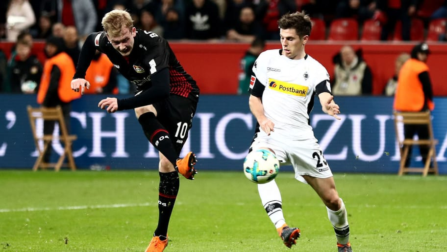 LEVERKUSEN, GERMANY - MARCH 10:  Julian Brandt of Leverkusen scores his teams second goal during the Bundesliga match between Bayer 04 Leverkusen and Borussia Moenchengladbach at BayArena on March 10, 2018 in Leverkusen, Germany.  (Photo by Lars Baron/Bongarts/Getty Images)