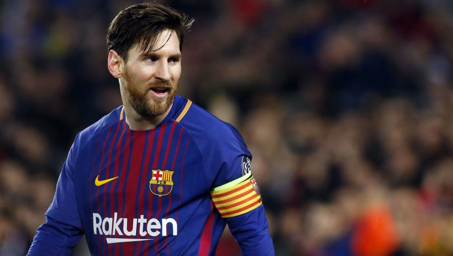 TOPSHOT - Barcelona's Argentinian forward Lionel Messi looks on during the UEFA Champions League round of sixteen second leg  football match between FC Barcelona and Chelsea FC at the Camp Nou stadium in Barcelona on March 14, 2018. / AFP PHOTO / Pau Barrena        (Photo credit should read PAU BARRENA/AFP/Getty Images)