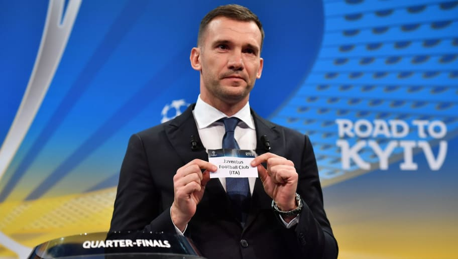Former Ukrainian football player and ambassador for the UEFA Champion League final in Kiev Andriy Shevchenko shows the slip of Juventus Football Club during the draw for the quarter finals round of the UEFA Champions League football tournament at the UEFA headquarters in Nyon on March 16, 2018. / AFP PHOTO / Fabrice COFFRINI        (Photo credit should read FABRICE COFFRINI/AFP/Getty Images)