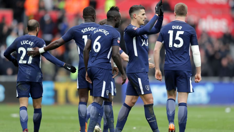 SWANSEA, WALES - MARCH 17:  Erik Lamela of Tottenham Hotspur celebrates scoring his side's second goal with team mates during The Emirates FA Cup Quarter Final match between Swansea City and Tottenham Hotspur at Liberty Stadium on March 17, 2018 in Swansea, Wales.  (Photo by Richard Heathcote/Getty Images)