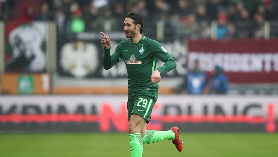 AUGSBURG, GERMANY - MARCH 17: Ishak Belfodil of Bremen celebrates after he scored a goal to make it 0:1 during the Bundesliga match between FC Augsburg and SV Werder Bremen at WWK-Arena on March 17, 2018 in Augsburg, Germany. (Photo by Alex Grimm/Bongarts/Getty Images)
