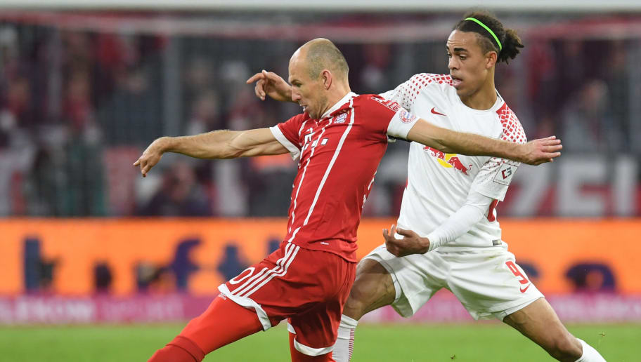 Bayern Munich's Dutch midfielder Arjen Robben (L) and Leipzig's Danish forward Yussuf Poulsen (R) vie for the ball during the German First division Bundesliga football match Bayern Munich vs RB Leipzig in Munich, southern Germany, on October 28, 2017. / AFP PHOTO / Christof STACHE / RESTRICTIONS: DURING MATCH TIME: DFL RULES TO LIMIT THE ONLINE USAGE TO 15 PICTURES PER MATCH AND FORBID IMAGE SEQUENCES TO SIMULATE VIDEO. == RESTRICTED TO EDITORIAL USE == FOR FURTHER QUERIES PLEASE CONTACT DFL DIRECTLY AT + 49 69 650050         (Photo credit should read CHRISTOF STACHE/AFP/Getty Images)