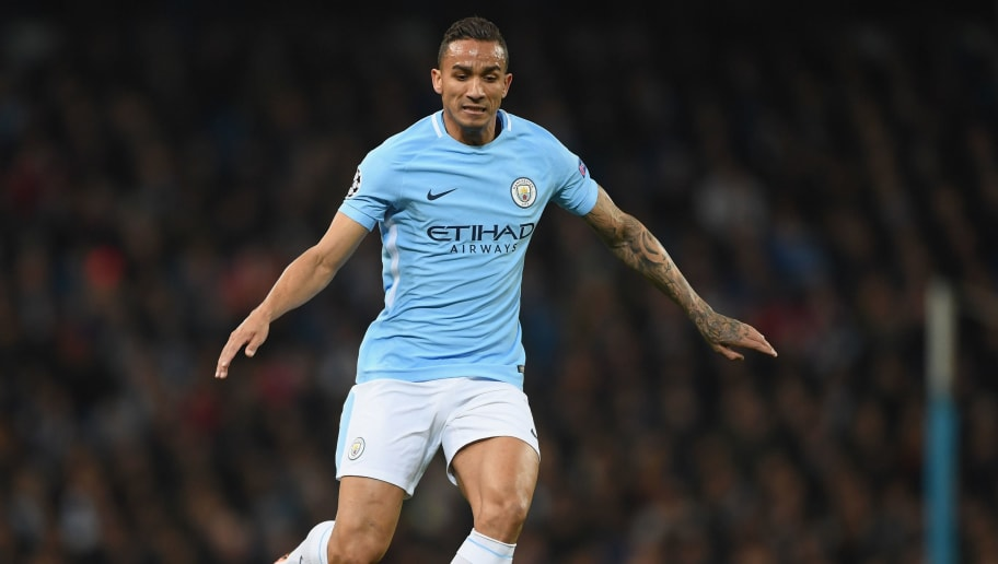MANCHESTER, ENGLAND - MARCH 07:  Danilo of Manchester City in action during the UEFA Champions League Round of 16 second leg match between Manchester City and FC Basel at Etihad Stadium on March 7, 2018 in Manchester, United Kingdom.  (Photo by Shaun Botterill/Getty Images)