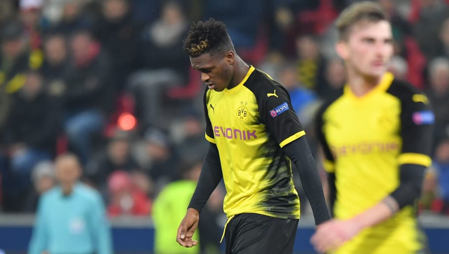 SALZBURG, AUSTRIA - MARCH 15: Dan-Axel Zagadou of Dortmund looks down during the UEFA Europa League Round of 16, 2nd leg match between FC Red Bull Salzburg and Borussia Dortmund at the Red Bull Arena on March 15, 2018 in Salzburg, Austria. (Photo by Sebastian Widmann/Bongarts/Getty Images,)