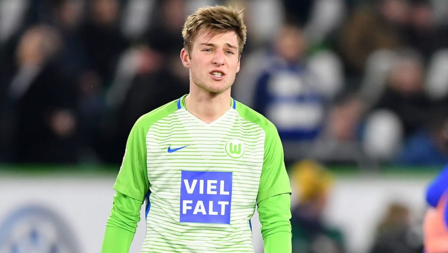 WOLFSBURG, GERMANY - MARCH 17:  Robin KnocheÊof Wolfsburg looks dejected at the end of the Bundesliga match between VfL Wolfsburg and FC Schalke 04 at Volkswagen Arena on March 17, 2018 in Wolfsburg, Germany.  (Photo by Stuart Franklin/Bongarts/Getty Images)