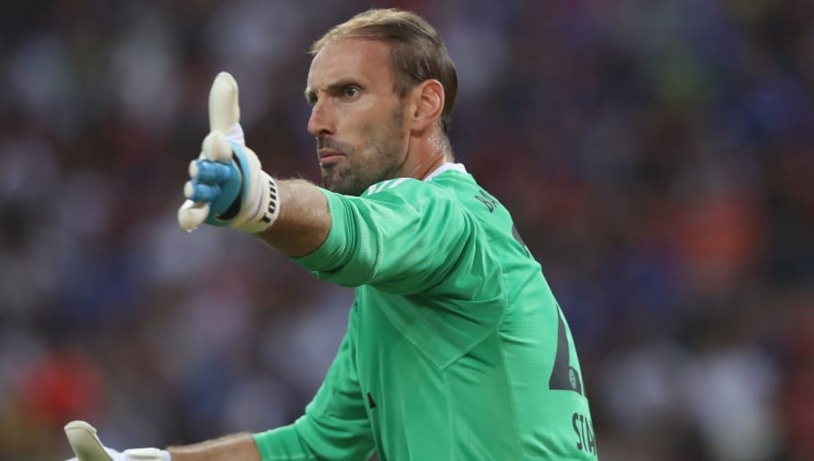 SINGAPORE - JULY 25:  Tom Starke, keeeper of Bayern Muenchen reacts during the International Champions Cup 2017 match between Bayern Muenchen and Chelsea FC at National Stadium on July 25, 2017 in Singapore, Singapore.  (Photo by Alexander Hassenstein/Bongarts/Getty Images)
