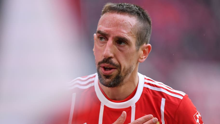 MUNICH, GERMANY - MARCH 10: Franck Ribery of Bayern Muenchen looks on during the Bundesliga match between FC Bayern Muenchen and Hamburger SV at Allianz Arena on March 10, 2018 in Munich, Germany. (Photo by Sebastian Widmann/Bongarts/Getty Images)