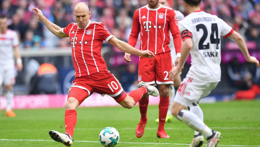 MUNICH, GERMANY - MARCH 10: Arjen Robben of Bayern Muenchen scores the fourth goal of his team during the Bundesliga match between FC Bayern Muenchen and Hamburger SV at Allianz Arena on March 10, 2018 in Munich, Germany. (Photo by Sebastian Widmann/Bongarts/Getty Images)