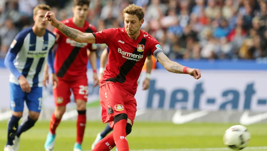 BERLIN, GERMANY - MAY 20:  Stefan Kiessling of Leverkusen scores the fourth goal after penalty during the Bundesliga match between Hertha BSC and Bayer 04 Leverkusen at Olympiastadion on May 20, 2017 in Berlin, Germany. (Photo by Matthias Kern/Bongarts/Getty Images)