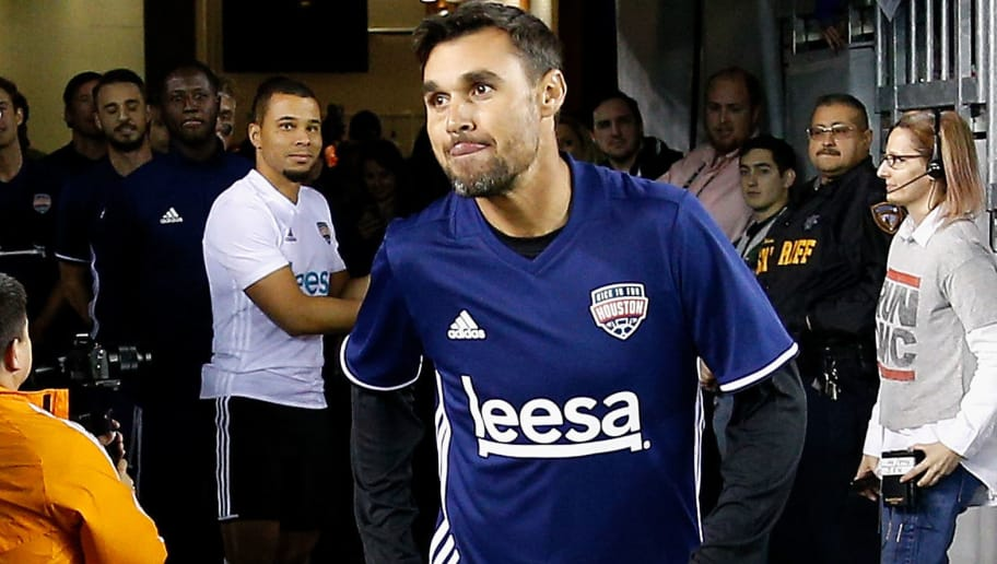HOUSTON, TX - DECEMBER 16:  Chris Wondolowski is introduced during the Kick In For Houston Charity Soccer Match at BBVA Compass Stadium on December 16, 2017 in Houston, Texas.  (Photo by Bob Levey/Getty Images for FOX Sports )