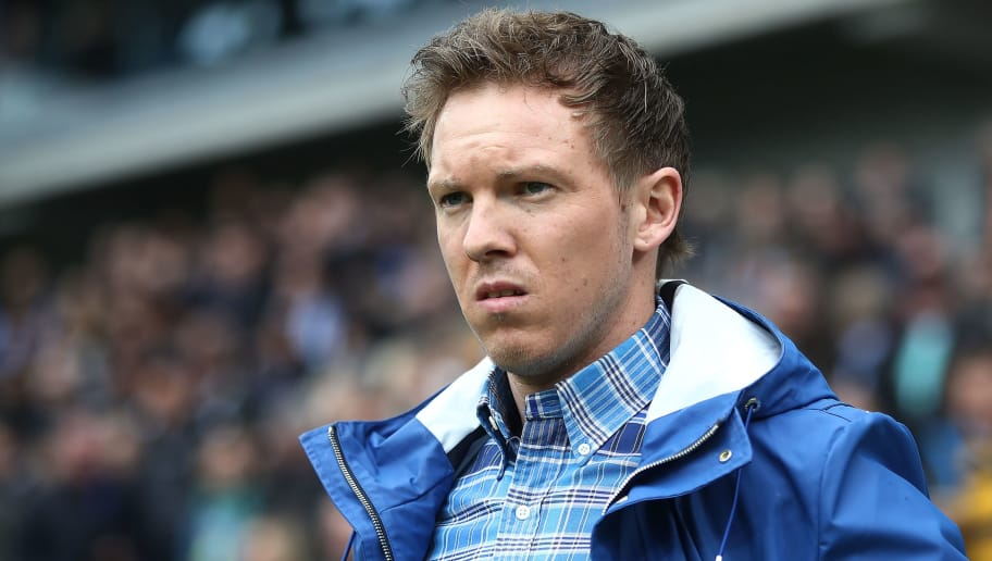 SINSHEIM, GERMANY - MARCH 10: Coach Julian Nagelsmann of Hoffenheim looks on before the Bundesliga match between TSG 1899 Hoffenheim and VfL Wolfsburg at Wirsol Rhein-Neckar-Arena on March 10, 2018 in Sinsheim, Germany. (Photo by Alex Grimm/Bongarts/Getty Images)