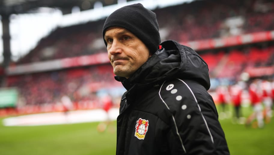 COLOGNE, GERMANY - MARCH 18: Heiko Herrlich head coach of Leverkusen prior the Bundesliga match between 1. FC Koeln and Bayer 04 Leverkusen at RheinEnergieStadion on March 18, 2018 in Cologne, Germany. (Photo by Maja Hitij/Bongarts/Getty Images)