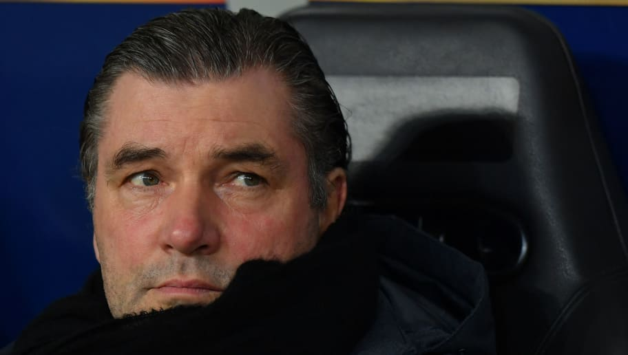 SALZBURG, AUSTRIA - MARCH 15: Sporting director Michael Zorc of Dortmund looks on prior to the UEFA Europa League Round of 16, 2nd leg match between FC Red Bull Salzburg and Borussia Dortmund at the Red Bull Arena on March 15, 2018 in Salzburg, Austria. (Photo by Sebastian Widmann/Bongarts/Getty Images,)