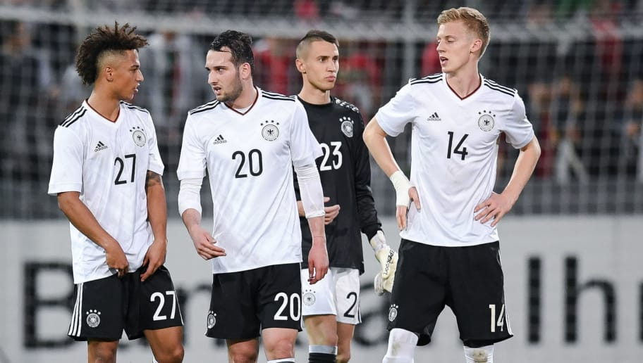 STUTTGART, GERMANY - MARCH 28: Thilo Kehrer (L-R), Levin Oeztunali, Odisseas Vlachodimos and Timo Baumgartl of Germany react after the U21 International Friendly match between Germany U21 and Portugal U21 at Gazi-Stadion auf der Waldau on March 28, 2017 in Stuttgart, Germany.  (Photo by Matthias Hangst/Bongarts/Getty Images)
