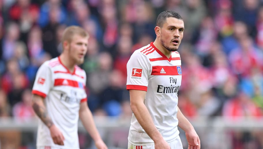 MUNICH, GERMANY - MARCH 10: Kyriakos Papadopoulos of Hamburg looks on during the Bundesliga match between FC Bayern Muenchen and Hamburger SV at Allianz Arena on March 10, 2018 in Munich, Germany. (Photo by Sebastian Widmann/Bongarts/Getty Images)