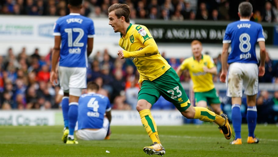 IPSWICH, ENGLAND - OCTOBER 22:  James Maddison of Norwich City celebrates scoring his sides first goal during the Sky Bet Championship match between Ipswich Town and Norwich City at Portman Road on October 22, 2017 in Ipswich, England.  (Photo by Stephen Pond/Getty Images)