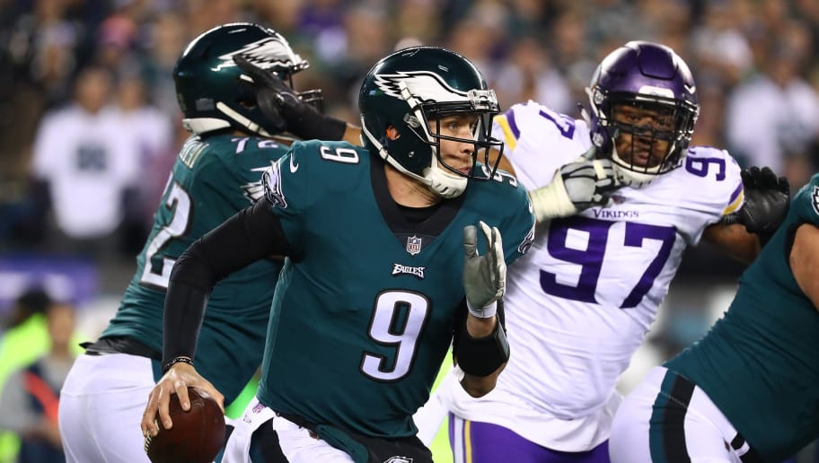 PHILADELPHIA, PA - JANUARY 21:  Nick Foles #9 of the Philadelphia Eagles in action against the Minnesota Vikings during their NFC Championship game at Lincoln Financial Field on January 21, 2018 in Philadelphia, Pennsylvania.  (Photo by Al Bello/Getty Images)